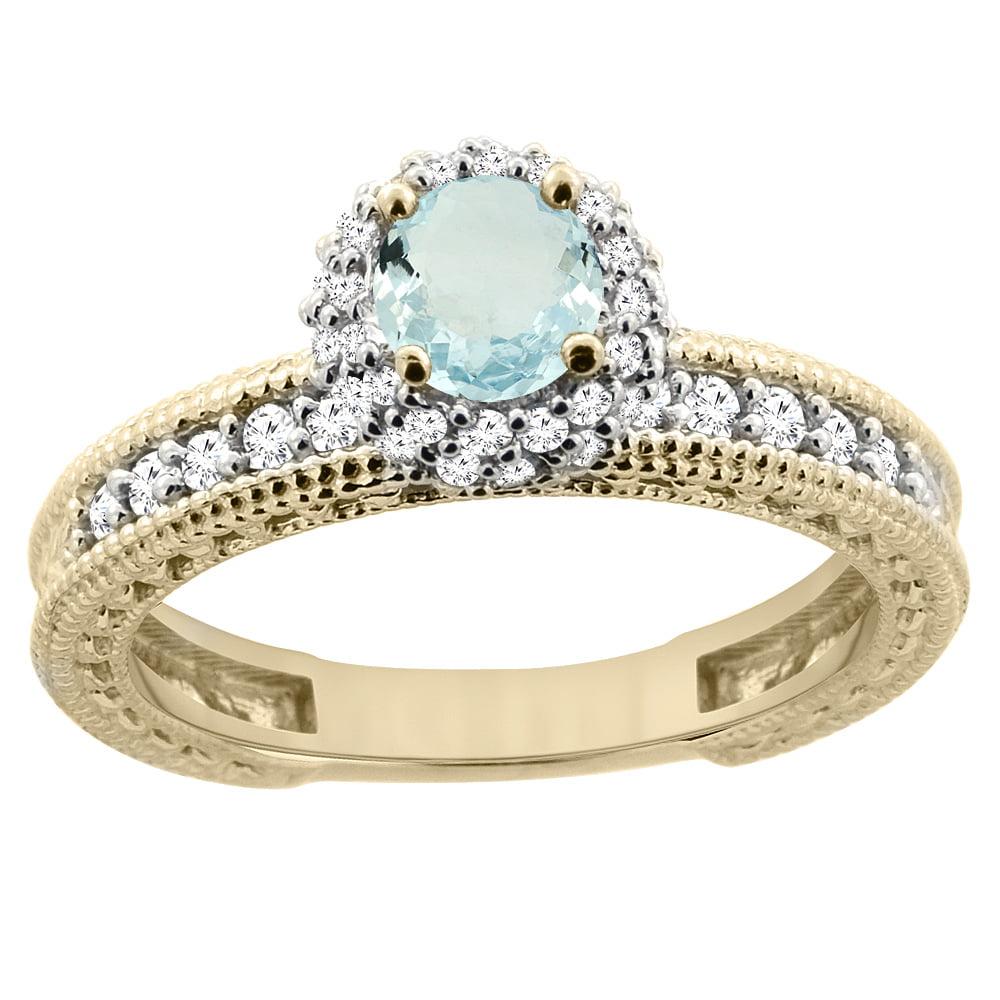 14K Yellow Gold Diamond Natural Aquamarine Round 4mm Engagement Ring 2-piece Set, size 5 by Gabriella Gold