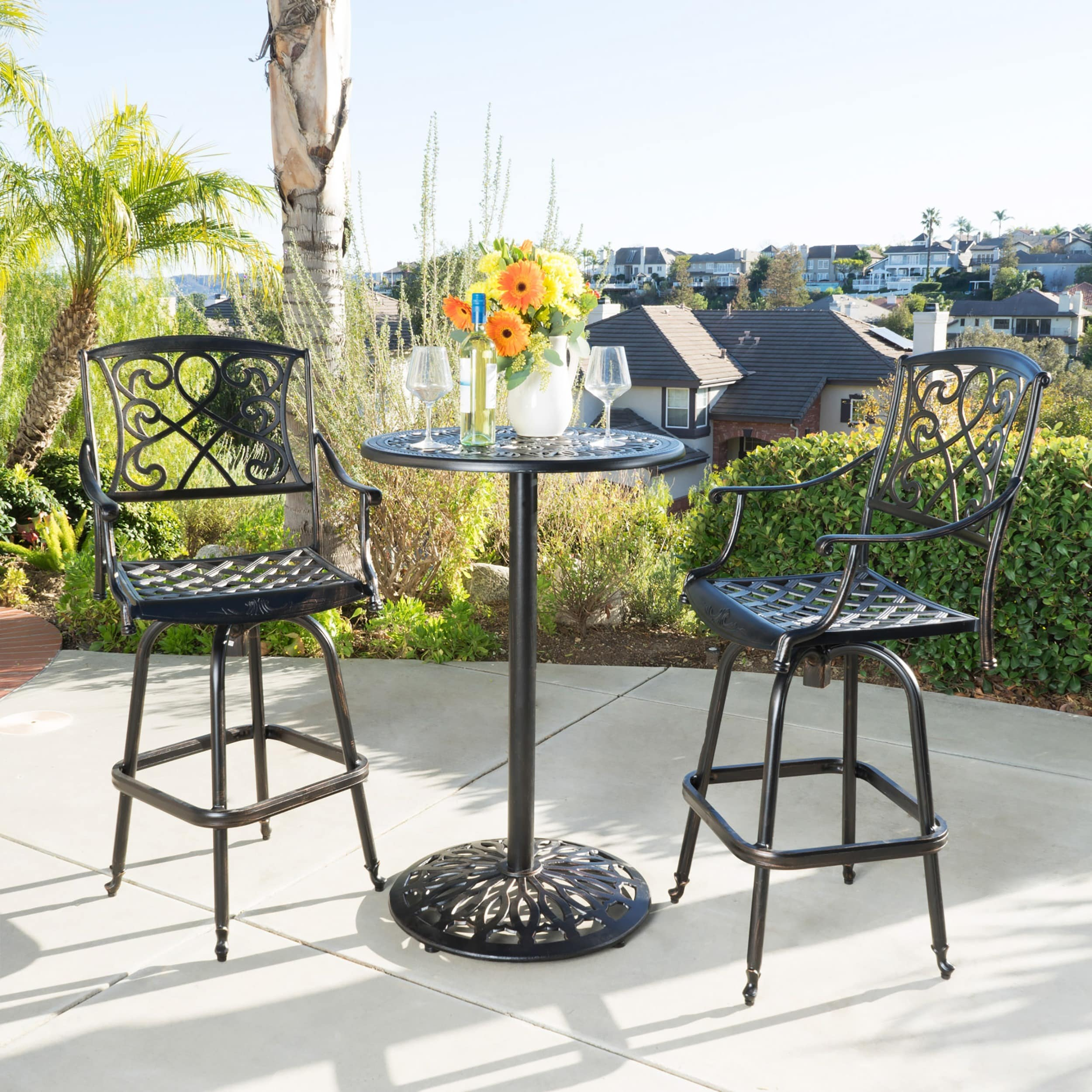 Christopher Knight Home Santa Maria Shiny Copper Cast Aluminum 3-piece Bistro Bar Set by