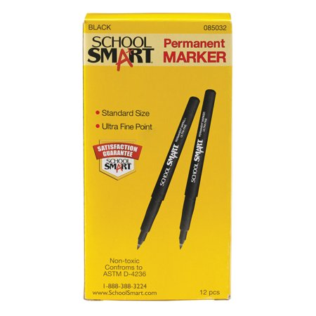 School Smart Non-Toxic Quick-Drying Water Resistant Permanent Marker, 0.6 mm Ultra Fine Tip, Black, Pack of 12