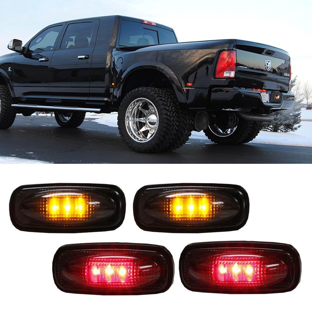 iJDMTOY (4) Smoked Lens LED Fender Bed Side Marker Lights Set For Dodge RAM 2500 3500 HD Truck (2 x Amber, 2 x Red)