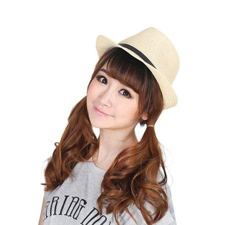 Stylish Hat Summer Straw Hat Cap Topee Fedora Trilby Panama Hat Cap Jazz Hat - image 7 de 8