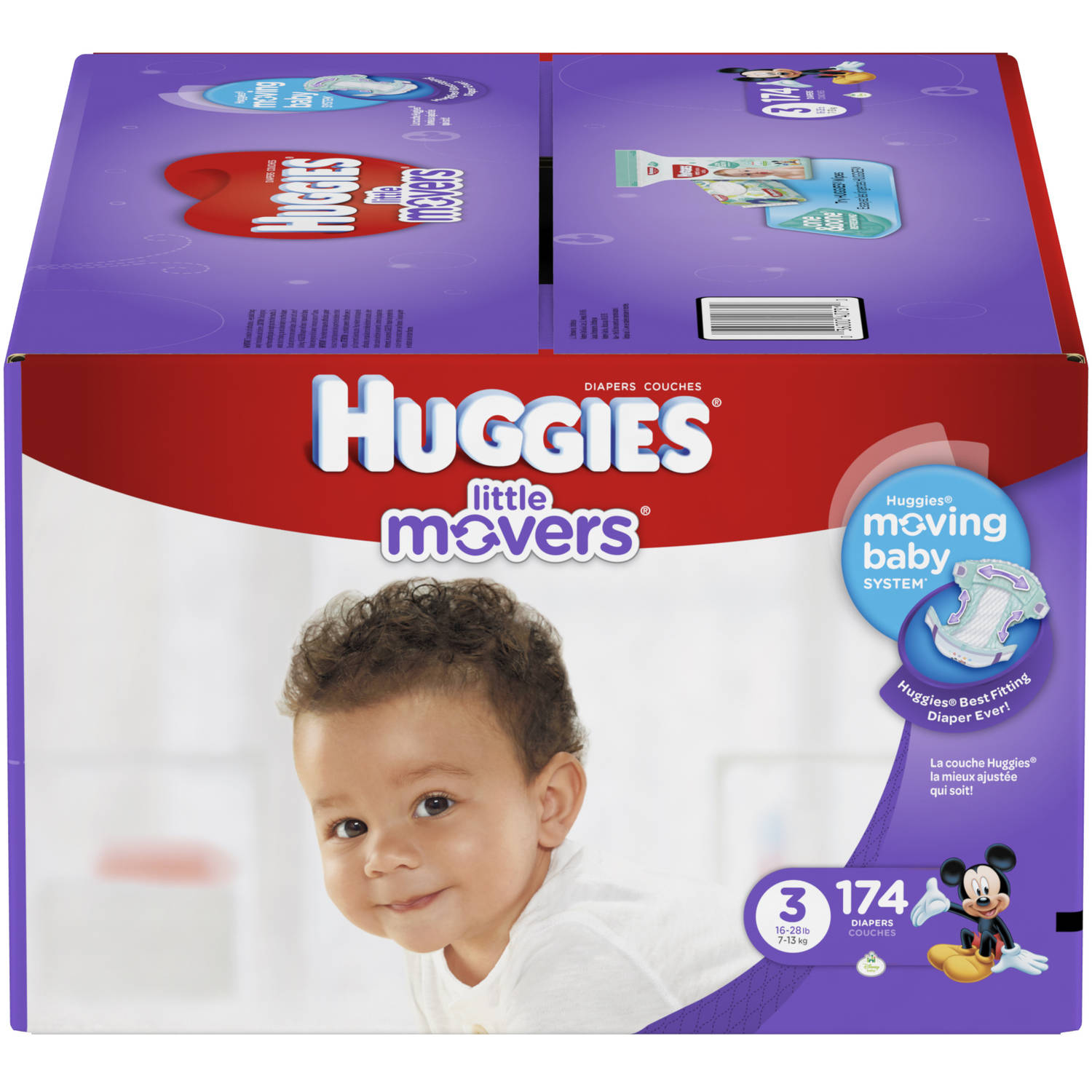 HUGGIES Little Movers Diapers, Economy Plus Pack (Choose Your Size)