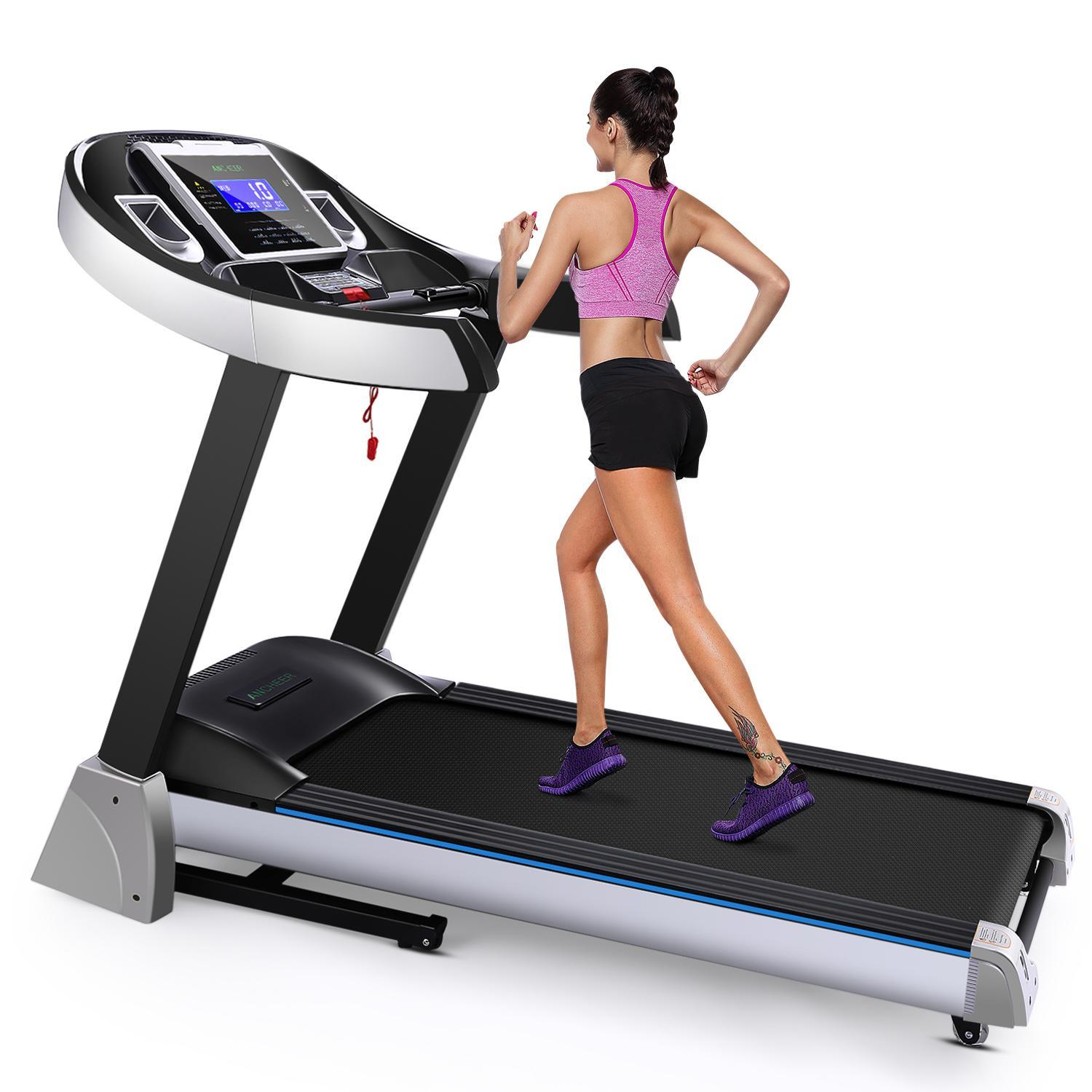 Clearance! Ancheer 4.5hp with 15% Auto Power Incline and 7'' Display Foldable Electric Treadmill Fitness Running Exercise Machine with Rolling Wheel, wide belt for gym home[US Plug]
