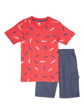 Beverly Hills Polo Club Boys 4-12 Short Sleeve T-Shirt & Cargo Shorts, 2-Piece Outfit Set