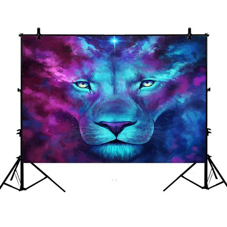 GCKG 7x5ft Galaxy Lion Photography Backdrop,Galaxy Lion Polyester Photography Backdrop Studio Photo Props Background - Detroit Lions Background