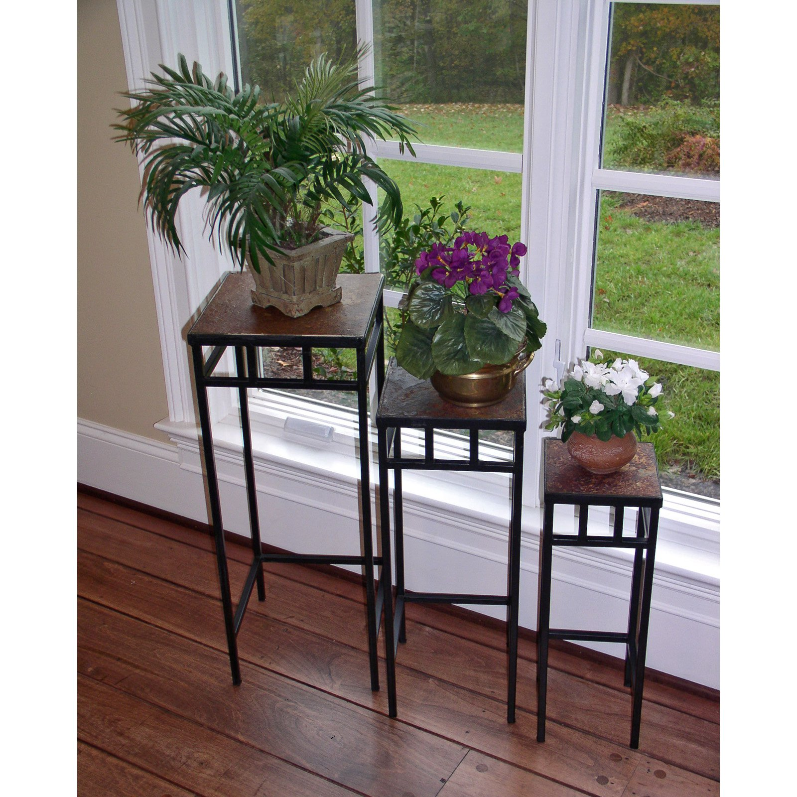 4D Concepts Slate Top Plant Stands - Set of 3