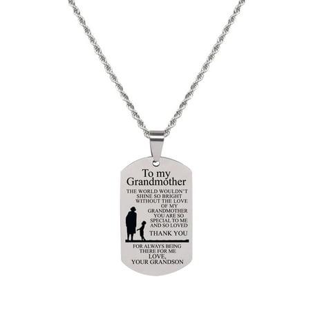 Grandma Tag (Sentiment Tag Necklace - TO GRANDMA FROM GRANDSON )
