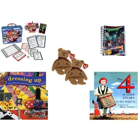 Curly Beanie Baby - Children's Gift Bundle [5 Piece] -  Are You Smarter Than a 5th Grader In Lunch Box  - Goosebumps Reading Is A Scream #4 Notepad  - Pair of Ty Beanie Babies Curly the Bear  - The Dressing-Up Book: Lo