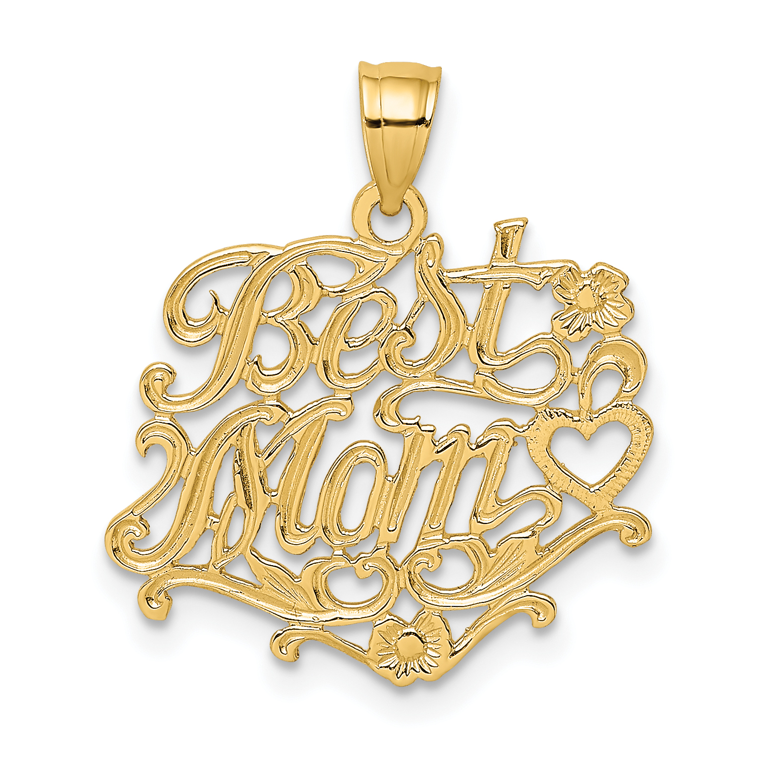 10k Yellow Gold Best Mom Pendant Charm Necklace Talking Fine Jewelry Gifts For Women For Her