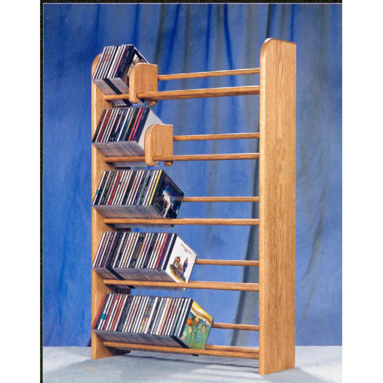 The Wood Shed Solid Oak 5 Row Dowel 275 CD Media Rack