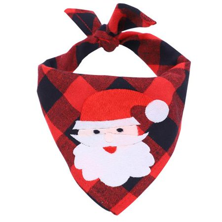 AkoaDa Pet Christmas Bandana, Washable Dog Triangle Scarf Bibs Plaid with Santa Claus and Elk Pattern Suitable for Dogs Cats