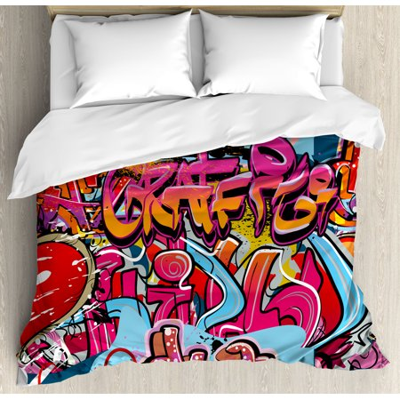 Graphic Decor Queen Size Duvet Cover Set Hip Hop Street Culture Harlem New York Wall
