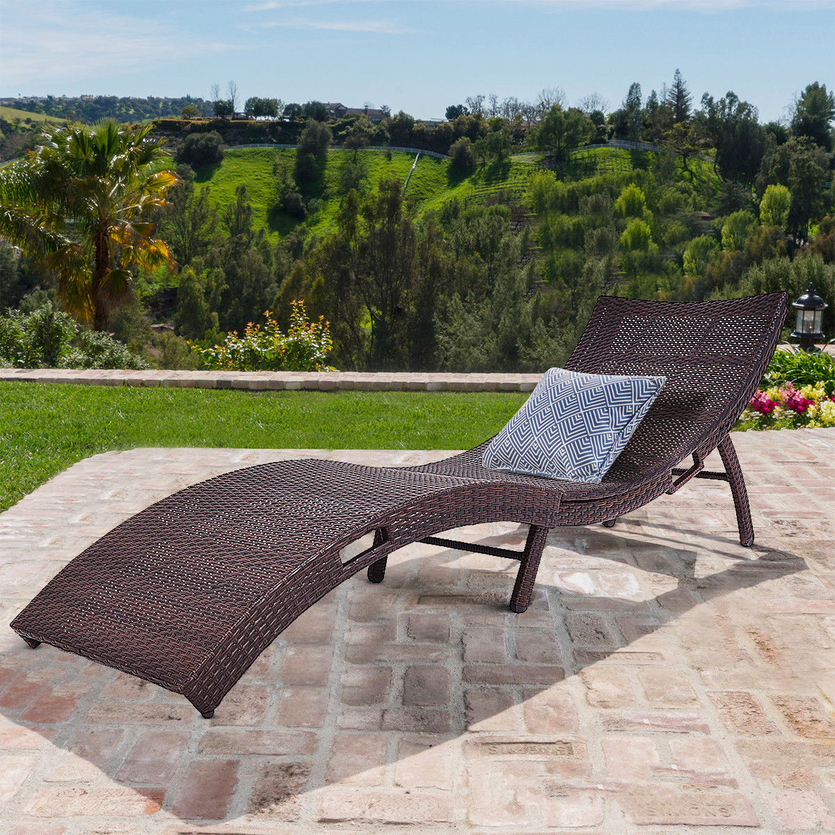 Costway Mix Brown Folding Patio Rattan Chaise Lounge Chair Outdoor Furniture Pool side by Costway