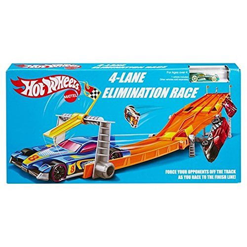 Hot Wheels Retro 4-Lane Elimination Race Track Set by Mattel