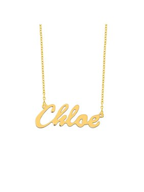 aa409a69c8 Product Image Personalized 18kt Yellow Gold over Silver Script Name Necklace,  16