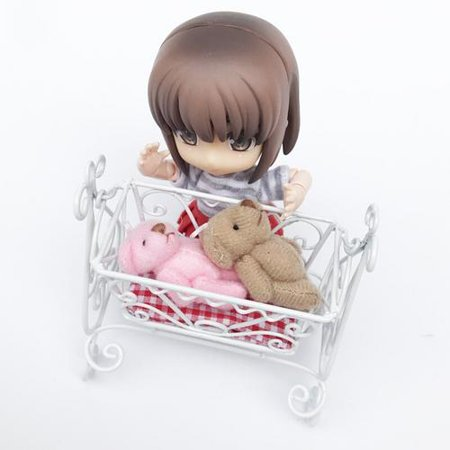 Iron Baby Cradle - 1:12 Doll House Mini Iron Frame Baby Cradle Bed