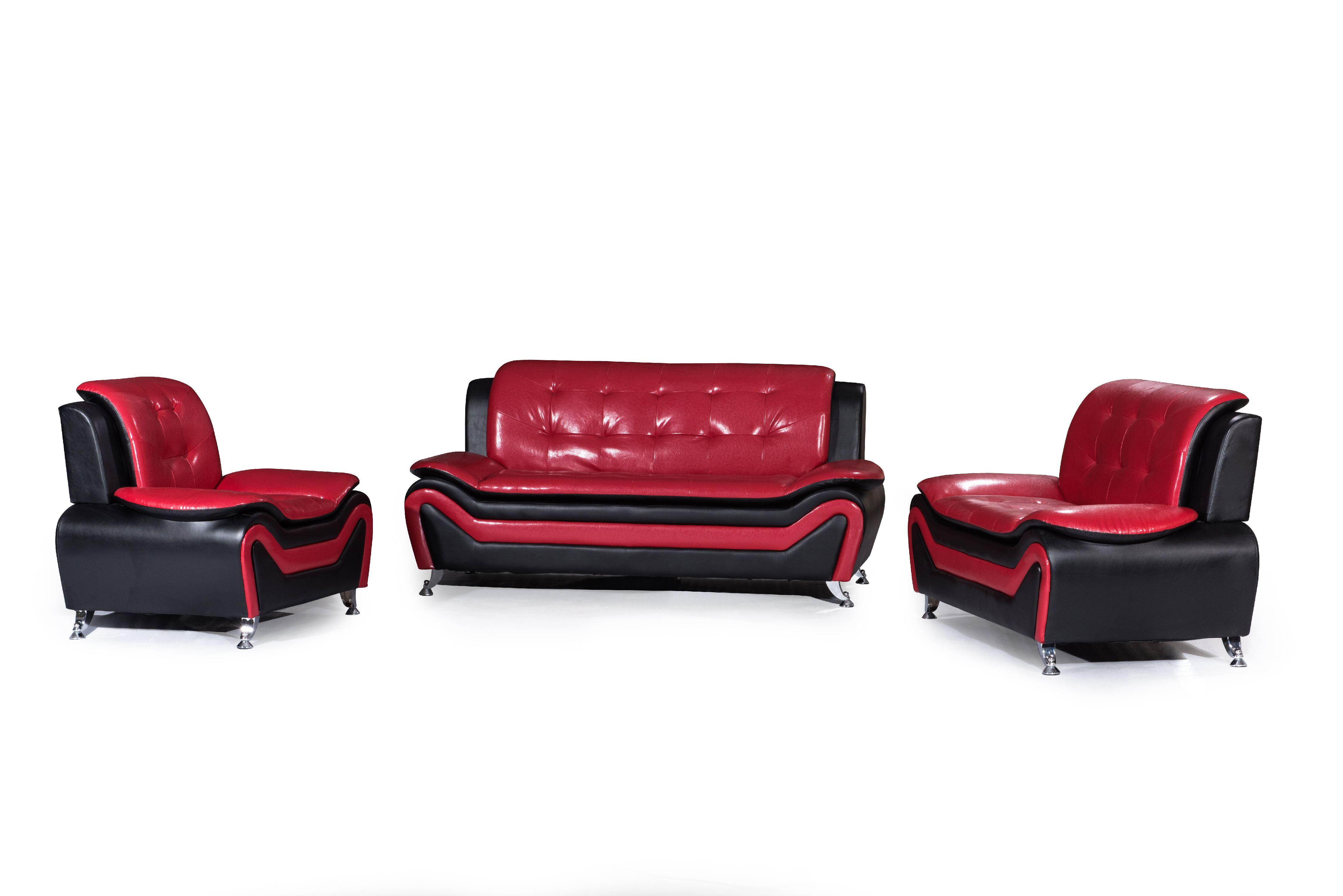 Chair Option Loveseat Sofa Wanda White//Black Bonded Leather Sofa Set-3PC 2PC