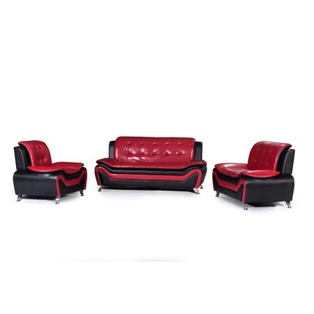 - US Pride Furniture Wanda 3-Piece Modern Bonded Leather Sofa Set S5066-S5067