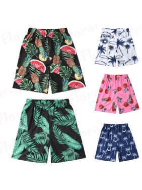 Mens Boys Dad-Son Family Parent-kids Matching Swimsuits Beach Shorts Floral Swimming Trunks Summer
