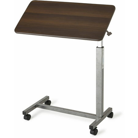 Medline Overbed Table With Three Position Tilt, Walnut