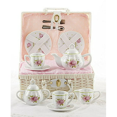 Delton Products Pink Rose Pattern Porcelain Child Tea for 2 Tea Set/Basket