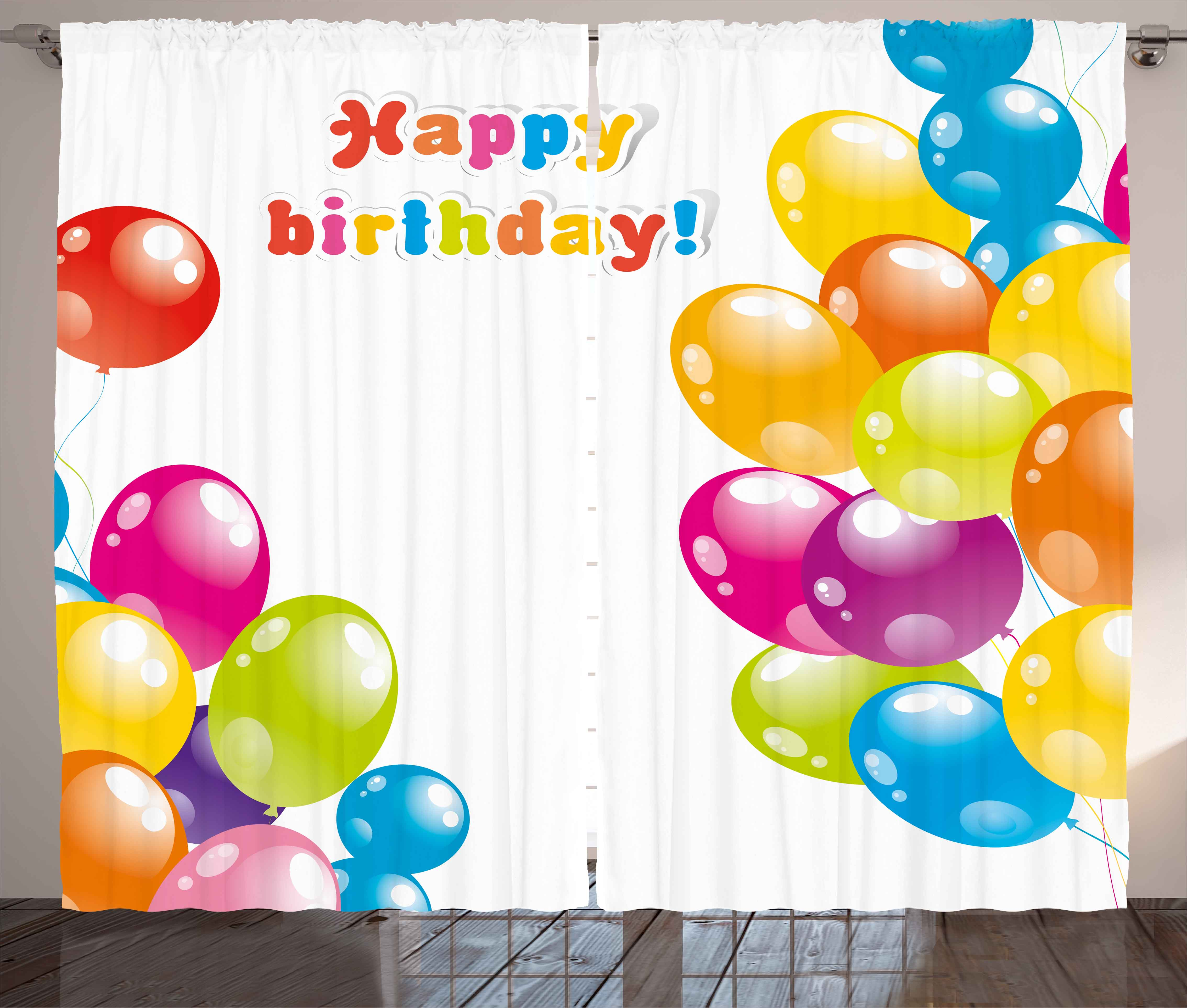 Birthday Curtains 2 Panels Set Colorful Festive Mood Flying Party Balloons In Surprise Happy Occasion Up Window Drapes For Living Room Bedroom