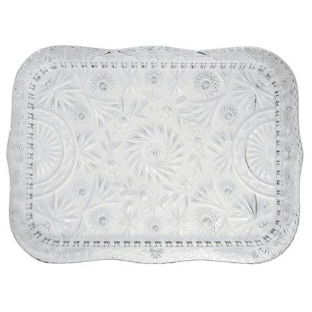 Cut Crystal Tray Rectangular Classic Pattern Heavyweight Plastic - 22 1/2 L x 16 1/2 W - Clear Plastic Serving Trays