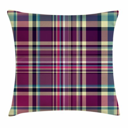 Checkered Throw Pillow Cushion Cover, Vintage Scotland Pattern in Purple Tones Abstract Retro Traditional Tile, Decorative Square Accent Pillow Case, 18 X 18 Inches, Cream Blue Purple, by - Scottish Decorative Tile