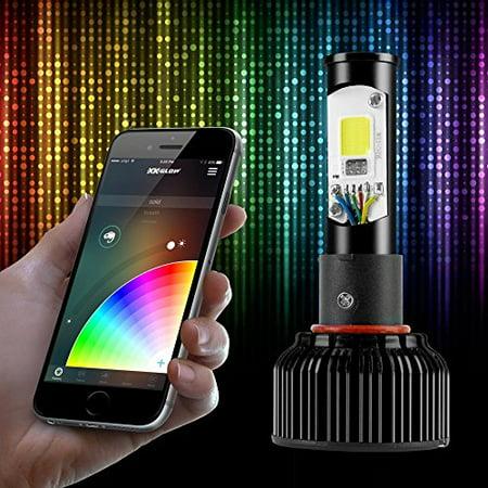 2 in 1 RGB Demon Eye + LED Headlight Bulb Kit XKchrome App Controlled: HB4 (Rgb Color Headlight)