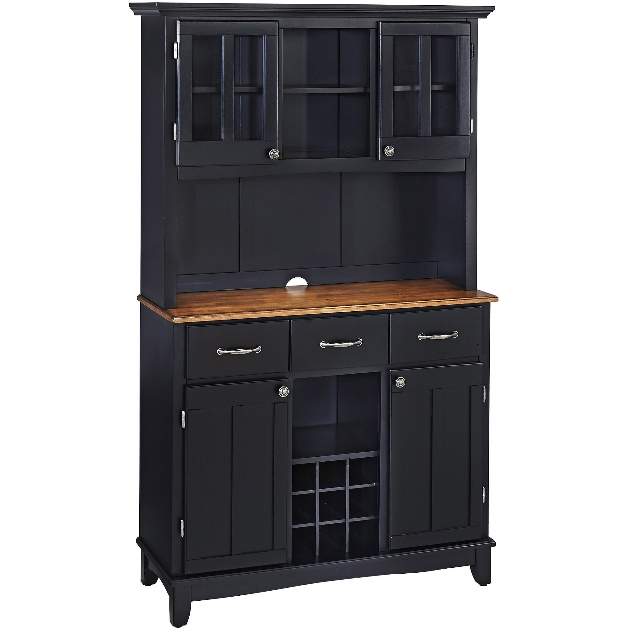 Home Styles Large Buffet With Two Glass Door Hutch, Black With Cottage Oak  Top