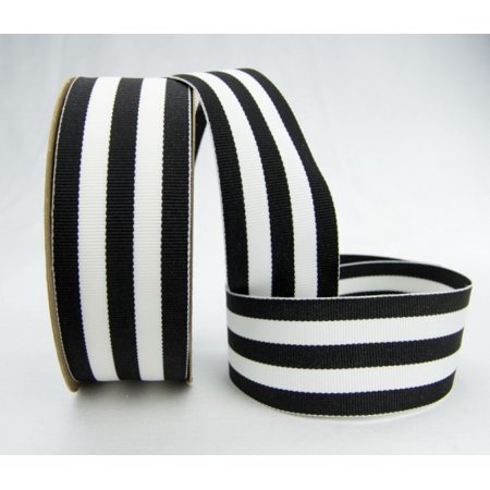 Ribbon Striped Garter (Ribbon Bazaar Grosgrain Mono Stripes 1-1/2 inch Black 20 yards 100% Polyester)