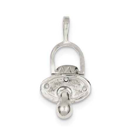 Pacifier Charm Jewelry - Sterling Silver Pacifier Charm (1.2in long x 0.5in wide)