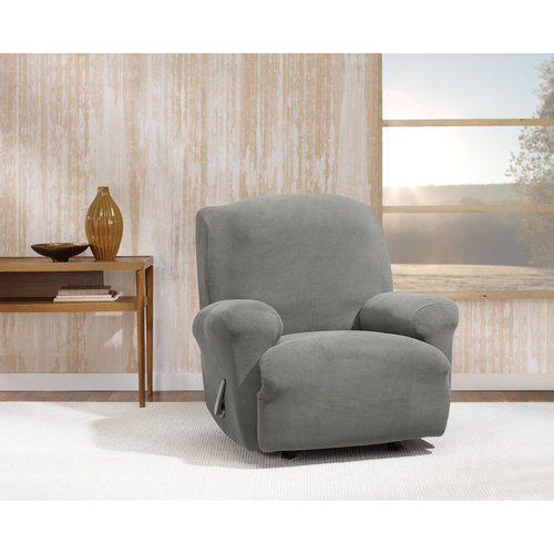 Stretch Morgan 1-Piece Recliner Furniture Cover, Gray