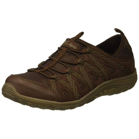 Skechers Womens Reggae Fest-Web Of Ties Low Top Bungee, Chocolate, Size 5.5