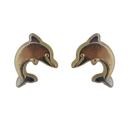 (18k Two Toned Dolphin Earrings with covered screwbacks (9mm))