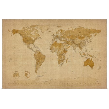 Great BIG Canvas | Rolled Michael Tompsett Poster Print entitled Map of the world in antique style