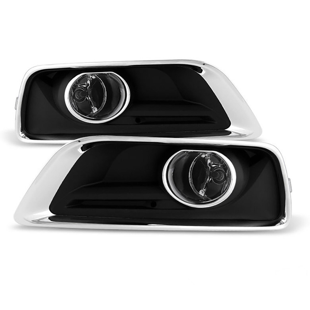 VIPMOTOZ Chrome Housing OE-Style Front Fog Light Driving Lamp Assembly w/ Bezel For 2013-2015 Chevy Malibu & Limited Model - Power Switch & Universal Wiring Included, Driver & Passenger Side