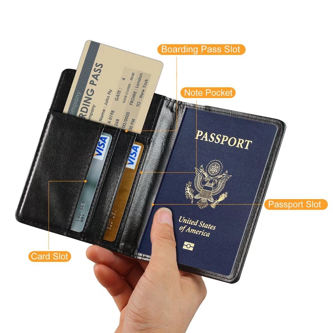 Cat Lion Costume Leather Passport Holder Cover Case Blocking Travel Wallet