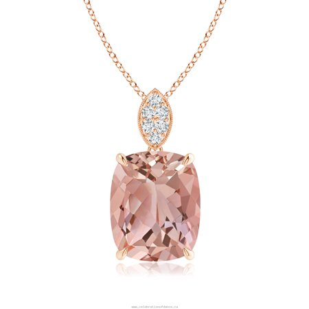 Prong Set 1.10 Carat Cushion Cut Real Morganite with Diamond Accent Pendant Necklace in 18k Rose Gold Over Silver Cut Out Rose Pendant