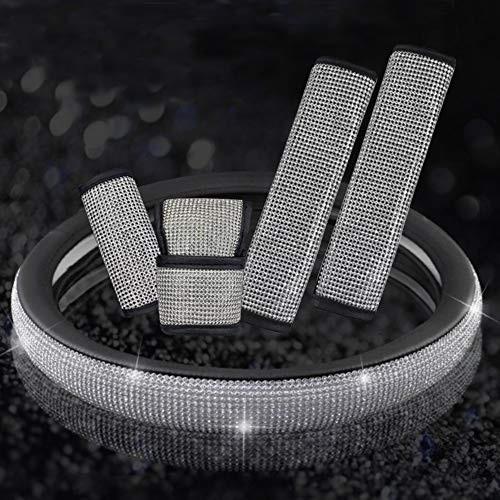 Pinbola Bling Bling Auto Seat Belt Cover /& Handbrake Cover /& Shift Gear Knob Cushion Luster Crystal Diamond Car Decor Accessories 4 pcs in 1 Set