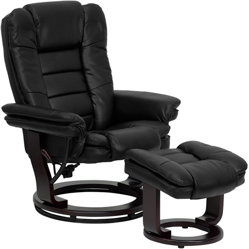 Contemporary Leather Recliner and Ottoman with Swiveling Wood Base, Multiple Colors