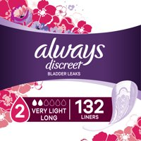 Always Discreet Incontinence and Postpartum Liners, Very Light Absorbency, Long Length, 132 Count