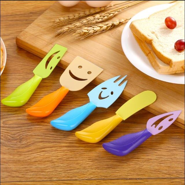 5 Pcs Cheese Knives Set Ultra-sharp Stainless Steel Slicer Cutter Cleaver Plastic Handle... by