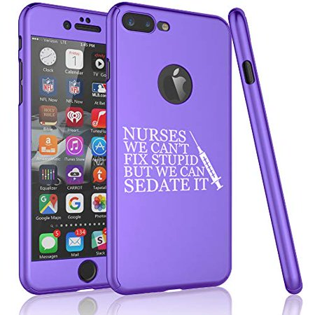 360° Full Body Thin Slim Hard Case Cover + Tempered Glass Screen Protector F0R Apple iPhone Nurses Cant Fix Stupid Sedate It (Purple, F0R Apple iPhone 7 / iPhone (Best Way To Fix Iphone Screen)