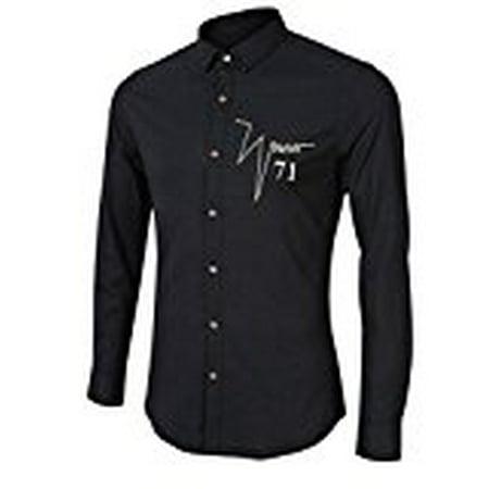 Men's Big Boys Cotton Linen Slim Fit Chest Embroidery Long Sleeve Button Down -