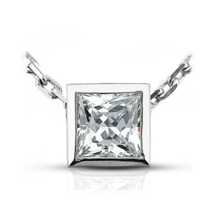 0.54 CT I-SI1 VG Princess Cert. Diamond 18k Bezel Setting Solitaire Pendant 0.8g