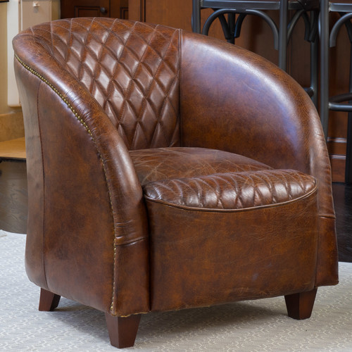 Charmant Darby Home Co Wilmette Tufted Leather Barrel Chair