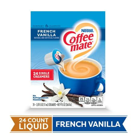 COFFEE MATE French Vanilla Liquid Coffee Creamer 24 Ct. Box   Non-dairy, Lactose Free Creamer Fat Free French Vanilla Creamer
