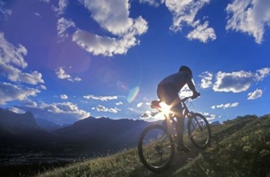 Mountain Biker At Sunset Canmore Alberta Canada Poster