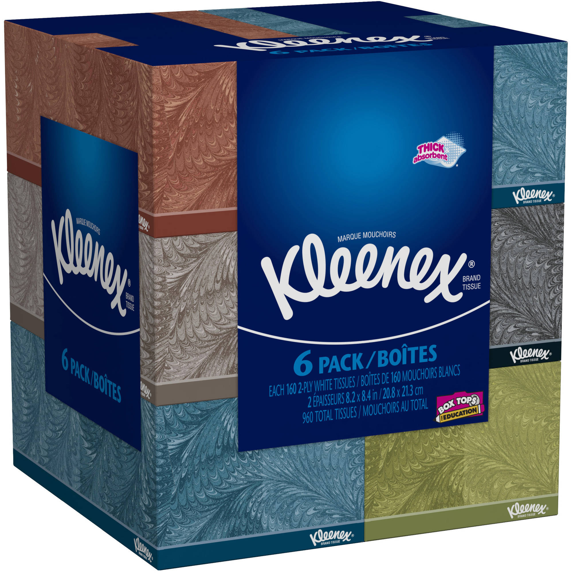 Kleenex Facial Tissues, Everyday, 160 Sheets, Pack of 6 (Designs May Vary)